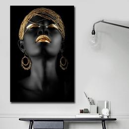 $enCountryForm.capitalKeyWord Australia - African Black Woman Canvas Printing Wall Art Abstract Painting Canvas Paintings for Wall and Home Decor Living Room Decoraction