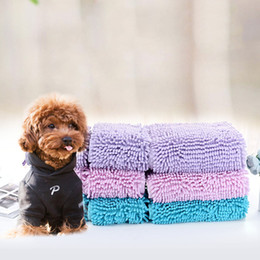 Chenille Towels Wholesale NZ - 35*60 35*80cm Cute Pet Drying Towel Ultra-absorbent Dog Bath Towel Blanket fiber chenille Puppy Dog Pet Supply