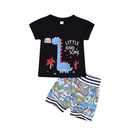 Chinese  Summer Baby Boys Cartoon Clothing Set Fashion Kids Casual Outfits dinosaur Short Sleeve T-shirt + Stripe anime Shorts 2pcs Suits Y2409 manufacturers