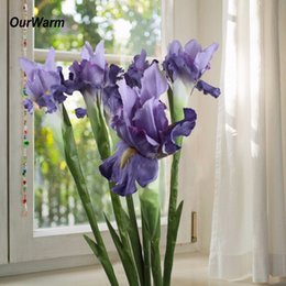 $enCountryForm.capitalKeyWord Australia - OurWarm Artificial Flowers for Wedding Bridal Bouquet Iris Flower Silk Flowers for Home Decoration Cheap Artificial Decorations