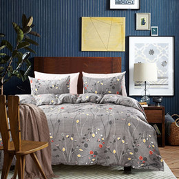 Discount elegant twin bedding sets - Free shipping Holiday Gift Elegant Leaves Leaf pattern Grey bedding duvet cover set with pillow case Twin Queen King Siz