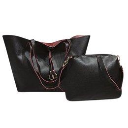 b8a69d3525a2 2pcs set Women Solid Shoulder Handbags Simple Totes Leather Crossbody Bag  Set Handbag High Quality