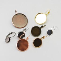 $enCountryForm.capitalKeyWord Australia - 8 10 12 14 16 18 20 25 mm Round French Lever Cabochon Earring Setting Blank Earring Base Cameo Bezels Tray DIY Jewelry Making