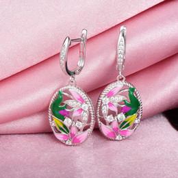 $enCountryForm.capitalKeyWord Australia - Rainmarch Bohemian Enamel Flower Silver Earrings For Women Engagement 925 Sterling Silver Earring Handmade Enamel Party Jewelry J190702