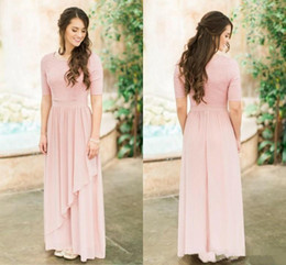 Champagne long sleeve Chiffon gown online shopping - Elegant Blush Pink Strapless Bridesmaid Dresses Cheap Plus Size Short Sleeves Maid Of Honor Gown Chiffon Prom Evening Dresses