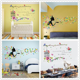 $enCountryForm.capitalKeyWord Australia - Spring home decor wall stickers for Kids Room Decor Sticker Cute Flowers bird girl Dandelion decorative wall Stickers
