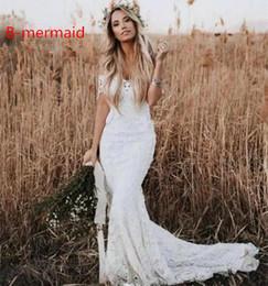 $enCountryForm.capitalKeyWord Australia - 2019 Elegant Off Shoulder White Lace Mermaid Wedding Dresses Garden Bridal Gowns Custom Sweep Train Country Bridal Dresses Robe De Mariée