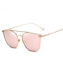 Alloy Shopping Australia - 2019 New Fashion Women Pink Mirror Sun Glasses For Travelling Shopping 6 Colors Brand Designed UV400 Alloy Sunglasses 1990CJ