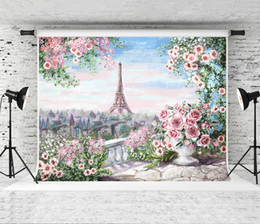 backdrop computer painted scenic background NZ - Dream 7x5ft Oil Painting Pink Flowers Backdrop Eiffel Tower Floral Photography Background for Photographer Children Photo Booth Studio Prop