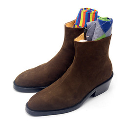 Selling high heel ShoeS online shopping - Cow Suede Boots High top Slip on Men s Fall Winter Single Booties Mens Shoes Hot Selling