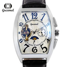 rectangle men analog watch UK - Men Real cowhide Watch Tourbillon Fully automatic Mechanical watches Moon phase waterproof Watch new style