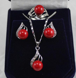 pearl sets Australia - Prett Lovely Women's Wedding red shell pearl crystal pendant necklace earring ring jewelry set 5.23