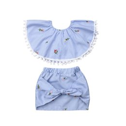 $enCountryForm.capitalKeyWord UK - 2019 Baby Girl Clothes Set 2Pcs Tassels Off Shoulder Tank Crop Tops+Bow Skirts Toddler Kids Clothing Floral Striped Outfit 1-6Y