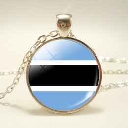 $enCountryForm.capitalKeyWord Australia - Hot Africa Botswana National Flag World Time Gem Glass Cabochon Pendant Necklace Simple Long Link Sweater Chain Choker for Women Men Jewelry