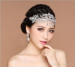 Cheap Flower Crowns UK - Cheap Bling Silver Wedding Accessories Bridal Tiaras Hairgrips Crystal Rhinestone Headpieces Jewelrys Women Forehead Hair Crowns Headbands