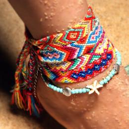 $enCountryForm.capitalKeyWord Australia - Hot Sale Handmade Weave Strand Waterproof Beach Bracelet Anklets Adjustable Handcrafted Bracelet Foot Chain for Women Rope Chain M431Y