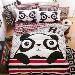 Discount bear sheets sets - 100% cotton panda bear Bedding Set luxury panda bedding set single Bed Sheet Pillowcase bed linen Bedspread boy girls 5