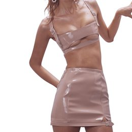 4d802fac73d 2 piece set women suit crop top skirt set PU leather outfit female clubwear  club sexy party two piece WS1732998