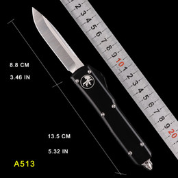 $enCountryForm.capitalKeyWord Canada - AUTO MICRO UTX-85 Automatic Knife TECH DROP POINT MT knife black handle stone wash CNC action tactical cutter Folding knifes pocket knifes