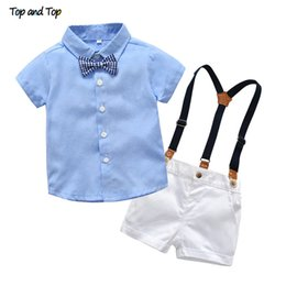 baby boy formal shorts Canada - Top and Top Fashion Newborn Baby Boy Gentleman Clothes Set Short Sleeve Plaid Bow Tie Shirt Top +Overalls Shorts Casual OutfitsMX190912