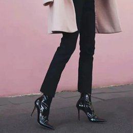 Shoe Brands For Women NZ - Luxury Brand Patent Leather Boots Women Sexy Mid Calf Boots for Women Mirror Leather High Heels Shoes INS Style Botas Mujer