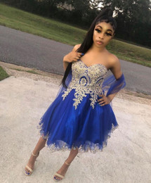 Discount gorgeous homecoming dresses Gorgeous Homecoming Dresses Royal Blue Sweetheart Neck Tulle Lace-up Back Short A Line Prom Dresses With Gold Appliques