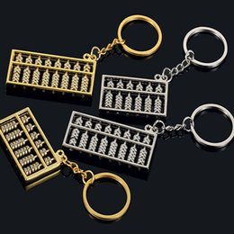 pendants abacus Australia - Fashion Cute 6 Files 8 Files Gold And Silver Abacus Keychain Metal Car Pendant key Ring Link Accessories Wholesale