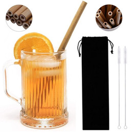 Wholesale 23CM Eco friendly Bamboo straw reusable drinking straw cleaner brush straws bags for party wedding bar drinking tools beverages straws