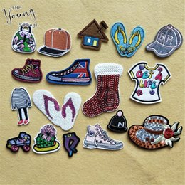 Wholesale Kids Clothes Shoes Australia - DIY Sewing Cartoon Shoes Embroidery Patch Clothes Stickers Iron On Bag Cap Patches For Clothing Badges For Kids Children Jeans