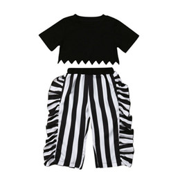 $enCountryForm.capitalKeyWord NZ - Hot Sell Toddler Girls Casual Outfits Fashion Kids Clothing Sets Short Sleeve Tops +Falbala vertical stripe Pants 2pcs Suits Y2368