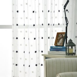 $enCountryForm.capitalKeyWord Australia - Children Decorative Curtain Star Embroidery White Linen Tulle Curtains For Living Room Grey Sheer Drapes For Bedroom