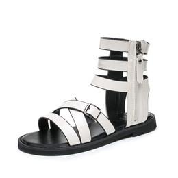 $enCountryForm.capitalKeyWord Australia - Top Sales Summer Rome Cross Belt Style Fashion Short Bootie Metal Punk Style for Cool Girls Ladies Women Dress Shoes Sandals Slippers