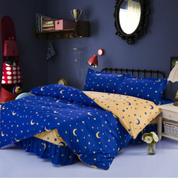 $enCountryForm.capitalKeyWord Australia - AB Sides Moon Stars Duvet Cover Sets For Single Double Bed Twin Full Queen Size 100% Polyester Bed Skirt Bedding Sets XF645-4