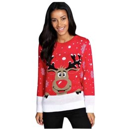 reindeer color Australia - European American Style Autumn Winter Women Knitted Sweater Christmas Cute Deer Pullovers Reindeer Sweater Womens Plus Size S-4XL Clothing