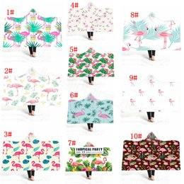 Children quilt online shopping - Flamingo Hooded Cloak Ball D Print Blankets plush Fleece Home Blanket Cape Shawl Sofa Throw Blanket Swaddling Bedding Quilt FFA3250