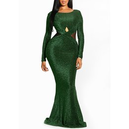 Fashion Kimono Style UK - Clocolor Elegant Sequin Green Backless Ladies Sheer Evening Fashion Women Mermaid Tight Party Club Long Sexy Dress Bodycon T5190617