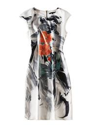 $enCountryForm.capitalKeyWord UK - Ink Painting Print Women Sheath Dress Round Neck Sleeveless Casual Dresses 06K1912