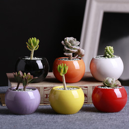 $enCountryForm.capitalKeyWord Australia - New Arrive Ceramic Pots Succulents Flower Pot Small Ball Round White Porcelain White Color Mini Creative