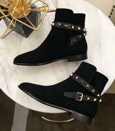 flat gold studs NZ - Hot Sale-2019 spring fall womens Ladies Cowskin black suede REAL Leather Metallic gold spike studs punk cross buckle strap ankle short BOOTS