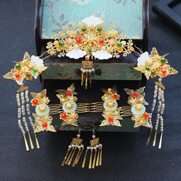 Wholesale T1018 Chinese Style Bride Headwear Classical Wedding Jewelry Set Handmade Shell Pearl Tassels Bridal Crown Hairpins Earrings