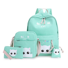 $enCountryForm.capitalKeyWord Australia - 4pcs Set Cute Cat School Bags School Backpacks Schoolbag For Girls Boys Teenagers Kids Bag Canvas Satchel Kids Mochila Sac A Dos