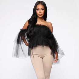 Wholesale blouses ruffles long sleeve vintage for sale – plus size Sexy Women Off Shoulder Ruffle Tops Blouse Double Layer Mesh Party Pleated Vintage Mesh Blouse Shirt Casual Long Sleeves Top