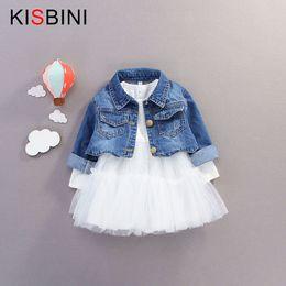 1f5abf5de Buena calidad primavera otoño bebé niñas Jeans abrigo chaqueta + vestido de  manga larga Tutu 2pcs   Sets chaqueta de mezclilla traje niños moda vestido