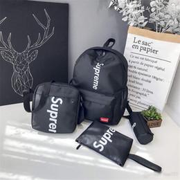 Wholesale 2019 Hottest Designer Backpack Set Letter Superman Canvas Four-piece Backpack Backpack Student Bag DHL free shipping