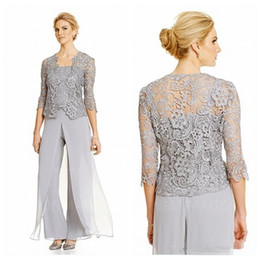 Wholesale quarter pants resale online – 2021 Vintage Silver Mother Of the Bride Groom Dresses With Pants Suits Quarter Sleeve Lace Jacket Top mother of the bride pant suit