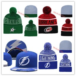 Beanies Black yellow online shopping - Carolina Hurricanes Knit Hat embroidered white grey black Yellow Dallas Stars beanies Tampa Bay Lightning Snapback Caps one size fit most