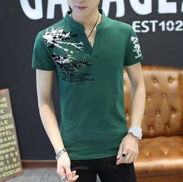 Wholesale white collar tshirt online – design Tees Stand Collar Print Mens Tshirt Summer Loose Casual Short Sleeve Tops New Fashion Breathable Cool Male