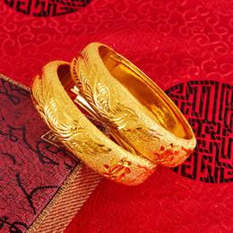 Yellow Gold 18k Bangle Australia - Luxury Womens Wedding Bridal Bangle 18k Yellow Gold Filled Womens Bracelet Jewelry Thick Wide Openable Gift