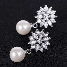 Silver Filled NZ - Brand 925 Silver Filled Earrings Exquisite Flower Pearl Drop Dangle Earrings for Women Wedding Engagement Jewelry Unique Gift E024