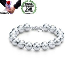 $enCountryForm.capitalKeyWord Australia - OMHXZJ Wholesale Personality Fashion Woman Girl Party Gift Silver 10mm Hollow Beads Chain 925 Sterling Silver Bracelet BR07